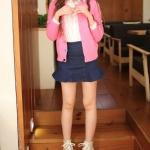 รองเท้าส้นตึกสีชมพู หุ้มข้อ หัวกลม แบบเชือกผูก ส้นสูง10cm ซับในเป็นผ้า แฟชั่นเกาหลี