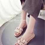 รองเท้าแตะผู้หญิงสีชมพู ส้นแบน แต่งดอกไม้ แบบสวม หนังพียูคุณภาพ ดูดี สวมใส่สบาย แฟชั่นเกาหลี