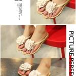 รองเท้าแตะแฟชั่นผู้หญิงสีเบจ ประดับดอกไม้ แบบหนีบ เปิดส้น สวมใส่สบาย แฟชั่นเกาหลี