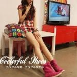 รองเท้าบู๊ตผู้หญิงสีชมพู หนังเคลือบ หัวกลม ส้นแบน แฟชันเกาหลี ส้นสูง1cm