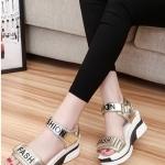 รองเท้าส้นเตารีดสีทอง แบบรัดส้น FASHION สวมใส่สบายเท้า ทรงทันสมัย แฟชั่นเกาหลี