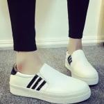 รองเท้าผ้าใบผู้หญิงสีขาว เสริมส้น แบบสวม รองรับน้ำหนักได้ดี ทรงคลาสสิค แฟชั่นเกาหลี