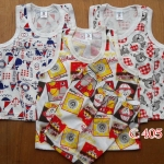 ชุดเสื้อกล้ามS ประมาณ 3-12ด. ผ้าคอตตอนพิมพ์ลาย 3ชุด