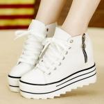 รองเท้าผ้าใบสนตึกสีขาว แบบเชือกผูก แต่งซิปข้าง ทรงมัฟฟิน อินเทรนด์ กำลังฮิต แฟชั่นเกาหลี