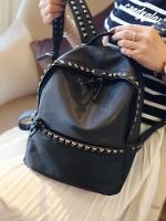 กระเป๋าเป้แฟชั่นสีดำ Rivet ประดับหมุด ผ้าไนลอน ทรงOxford เรียบง่าย ดูดี แฟชั่นเกาหลี