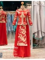 รหัส ชุดกี่เพ้ายาว : KPL033 ชุดกี่เพ้าประยุกต์ราคาถูกลายมังกร ชุดกี่เพ้าสวยๆ สีแดงแขนยาว แบบกระโปรงบาน ใส่เป็นชุดกี่เพ้าแต่งงานก็สวยคะ