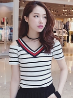 เสื้อแฟชั่น คอวี เปิดโชว์ไหล่ ดีไซน์คล้ายแบรนด์ดัง-1415-สีขาว