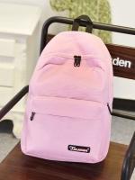 กระเป๋าเป้แฟชั่นสีชมพู สะพายหลัง แบบซิป วัสดุไนลอนคุณภาพสูง ซับในโพลีเอสเตอร์ ใช้ได้ทั้งผู้หญิงผู้ชาย แฟชั่นเกาหลี สำเนา