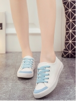 รองท้าผ้าใบผู้หญิงสีน้ำเงิน ทรงฮาราจุคุ แบบเชือกผูก วัสดุผ้าฝ้าย ด้านในเป็นขนสัตว์ สไตล์น่ารัก แฟชั่นเกาหลี