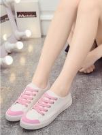 รองท้าผ้าใบผู้หญิงสีชมพู ทรงฮาราจุคุ แบบเชือกผูก วัสดุผ้าฝ้าย ด้านในเป็นขนสัตว์ สไตล์น่ารัก แฟชั่นเกาหลี