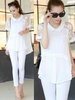 เสื้อเชิ๊ต แต่งแขนชายเสื้อบานพริ้ว ใส่ลำลองหรืออกงานก็ได้-1198-สีขาว