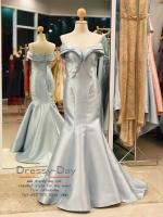 รหัส ชุดราตรียาว :PF052 - 1ชุดแซก ชุดราตรี after party สีฟ้า แบบเปิดไหล่ ชุดยาวสุดหรูเหมาะใส่ออกงานกลางคืน งานแต่งงาน