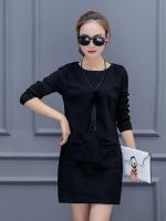 ชุดเดรสแฟชั่นแขนยาว ผ้า Wool ต่อแขนผ้าทอกึ่งไหมพรมผสม-1422-สีดำ