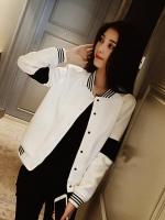 เสื้อคลุมแฟชั่น แขนยาวแต่งคาดช่วงแขน สลับสีขาวดำตามแบบ-สีขาว