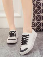 รองท้าผ้าใบผู้หญิงสีดำ ทรงฮาราจุคุ แบบเชือกผูก วัสดุผ้าฝ้าย ด้านในเป็นขนสัตว์ สไตล์น่ารัก แฟชั่นเกาหลี