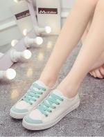 รองท้าผ้าใบผู้หญิงสีเขียว ทรงฮาราจุคุ แบบเชือกผูก วัสดุผ้าฝ้าย ด้านในเป็นขนสัตว์ สไตล์น่ารัก แฟชั่นเกาหลี