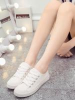 รองท้าผ้าใบผู้หญิงสีขาว ทรงฮาราจุคุ แบบเชือกผูก วัสดุผ้าฝ้าย ด้านในเป็นขนสัตว์ สไตล์น่ารัก แฟชั่นเกาหลี