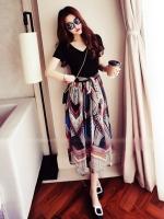 ชุดเดรสแฟชั่น ต่อกระโปรงผ้าชีฟองสวยสไตล์โบฮีเมี่ยน-1378-Long dress
