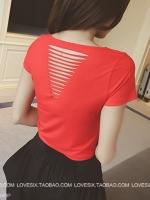 พร้อมส่ง - เสื้อยืดแขนสั้นแต่งผ้าริ้วด้านหลัง สีแดง