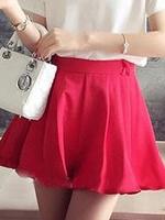 กระโปรงกางเกงแฟชั่นสีแดง