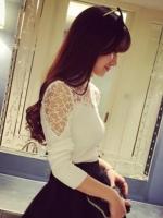 เสื้อยืดแฟชั่น คอกลม แต่งลูกไม้สวยหวานน่ารักสไตล์เกาหลี-1504-สีขาว