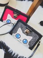 กระเป๋าสะพายข้าง ทรงกล่องสี่เหลี่ยม ลายน้องแมวน่ารัก