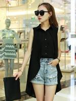 เสื้อแฟชั่นแขนกุดคอปก ต่อผ้าคลุมยาวดีไซน์เก๋คล้ายเสื้อสองชั้น-1354-สีดำ