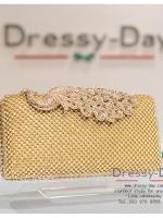 กระเป๋าออกงาน TE002: กระเป๋าออกงานพร้อมส่ง สีทอง ลายนกยูง ราคาถูกกว่าห้าง ถือออกงาน หรือ สะพายออกงาน สวย หรู ดูดีมากค่ะ