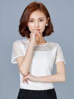เสื้อแฟชั่นชีฟอง แขนสั้น แต่งด้วยด้ายถักลวดลาย -1324-สีขาว