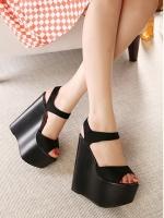 รองเท้าส้นเตารีดรัดส้น เสริมส้น สูงมาก (สีดำ)