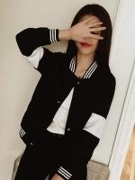 เสื้อคลุมแฟชั่น แขนยาวแต่งคาดช่วงแขน สลับสีขาวดำตามแบบ-สีดำ