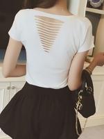พร้อมส่ง - เสื้อยืดแขนสั้นแต่งผ้าริ้วด้านหลัง สีขาว