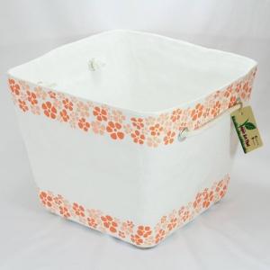 ตะกร้าอเนกประสงค์ลายดอกไม้สีส้ม
