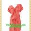 2623เสื้อผ้าคนอ้วน ชุดทำงานคอวีลายจุดแดงทรงเอวถ่วงพรางท้องกระโปรงเข้ารูปสั้นพอดีเข่าสไตล์สปอร์ตมีกระเป๋าล้วงซ้ายขวา thumbnail 1