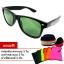 แว่นตา แว่นกันแดด UV400 ทรง Wayfarer กรอบดำ เลนส์เทาเขียว thumbnail 1