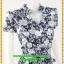 3058ชุดเสื้อผ้าคนอ้วน ชุดทำงานคอจีนลายไทยสีน้ำเงินสไตล์เปรี้ยวหรูไฮโซชุดคอจีนป้ายสำเร็จเก็บทรงเนี๊ยบสุด thumbnail 2