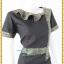 3176เสื้อผ้าคนอ้วนผ้าทอลายไทยแต่งลายปกแขนแทรกลายกระโปรงทรงสามเหลี่ยมคล้ายหางปลาสไตล์เนี๊ยบหรู thumbnail 2