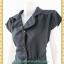 1697ชุดเดรสทำงาน เสื้อผ้าคนอ้วนกระดุมหน้าสีเทาเข้มสุดคลาสสิคคอวีปกใบพายสไตล์สาวเนี๊ยบเรียบร้อยชุดยาวคลุมเข่า thumbnail 2