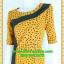 2806เสื้อผ้าคนอ้วน ชุดทำงานแฟชั่นสีเหลืองลายแขนยาวคอกลมตัดต่ออกสโลปสไตล์งานโมเดิร์นพรางรูปร่างผ้าไหมอิตาลี่ thumbnail 3