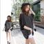 เสื้อยืดแฟชั่นเกาหลี ทรงปีกค้างคาวลายริ้ว แขนเสื้อชีฟอง-1073-สีดำ thumbnail 1
