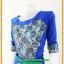 2835เสื้อผ้าคนอ้วนคอ ชุดแซกออกงาน ปาดสีน้ำเงินสดปูลูกไม้บนผ้าแก้วราตรีสไตล์เรียบหรูผู้ดีเล่นลายดอกสลับพื้นเพิ่มเชฟไหล่และเอวทรงนาฬิกาทราย thumbnail 3