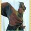 1840ชุดเดรสทำงาน เสื้อผ้าคนอ้วนสีโค้กลายริ้วเข้มคอวีป้ายแขนสโลปเข้าได้ทุกวงแขน สไตล์เดรสสปอร์ตเรียบง่าย thumbnail 3