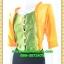 2631ชุดเดรสทำงาน เสื้อผ้าคนอ้วนสีเหลืองผ้าเครปเนื้อแวววาวแทรกระบายเกล็ดทรงเพิ่มเชฟด้วยกระโปรงทรงดินเอ thumbnail 3