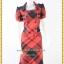 3145เสื้อผ้าคนอ้วน ชุดทำงานตาสก็อตแดงดำ คอเหลี่ยมปกปีกนก กระดุมคู่ แขนตุ๊กตาสไตล์คลาสสิค thumbnail 1