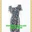2671ชุดเดรสทำงาน เสื้อผ้าคนอ้วน สีดำลายดอกเล่นกุ๊นแถบสีคอกลมกระโปรงป้ายเสริมชิ้นลอยพาดครึ่งตัว เพิ่มจีบกระโปรงบนตัวชุดอย่างหรูหรา thumbnail 1