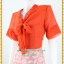 3128ชุดทํางาน เสื้อผ้าคนอ้วนชีฟองสีส้มแขน2ชั้นสไตล์หรูเบาสบายรับซัมเมอร์ คอผูกโบสไตล์สุภาพ เรียบร้อยกระโปรงลูกไม้ มีซับในสีสวยหวาน thumbnail 3
