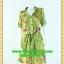 F2233ชุดแซกทำงาน เสื้อผ้าคนอ้วนลายเขียวปกเชิ๊ตเอวถ่วงผูกโบสไตล์สปอร์ต แขนยาวอินธนูทรงหลวมสวมใส่พรางรูปร่างผ้าอินโด thumbnail 1