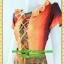 F2230เสื้อผ้าคนอ้วน ชุดทำงานสีส้มอ่อนลายไขว้กากบาทด้านหน้าโดดเด่นด้วยคอปกจีบตามแทรกดำกระโปรงดำสะดุ้งชายเพิ่มความอ่อนหวาน thumbnail 3