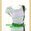2625ชุดทํางาน เสื้อผ้าคนอ้วนลายเพ้นท์คอกลมแต่งแถบสีข้างเอวสวยหวานเบรคลายด้วยสีเขียวเรียบๆหรูอินเทรนด์ thumbnail 2