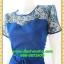 2827เสื้อผ้าคนอ้วน ชุดทำงานสีน้ำเงินสง่างามเปล่งประกายออร่างามออกงานคอกลมปูลูกไม้โปร่งบนแต่งแขนโปร่งสไตล์หรูเซ็กซี่ thumbnail 3